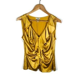 Cache Gold Ruffle Front Sleeveless Blouse